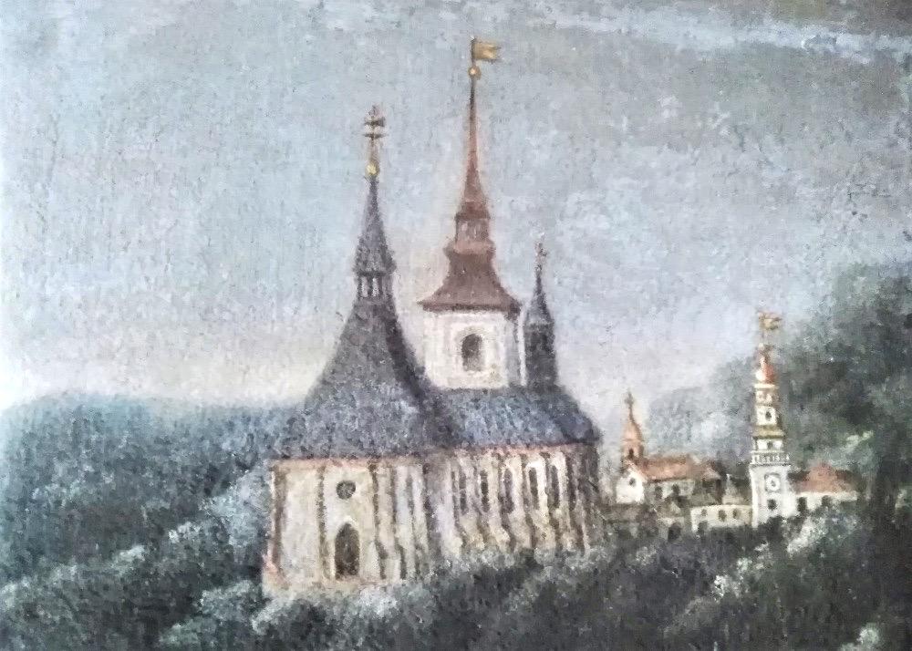 Kostel sv. Jakuba, pohled od jihozápadu, převzato z katalogu výstavy Šlechtický rod ze Zástřizl na Boskovicích. Podoba kostela mezi lety 1605–1772. Pozdně gotická stavba Václava a Ladislava z Boskovic z doby kolem roku 1520, s vysokou stanovou střechou lodi zakončenou vížkou a vysokým sanktusníkem nad presbytářem. V pozadí následně přistavěná severní věž, zvýšená členitou střechou za Václava st. Morkovského ze Zástřizl v letech 1600–1602.