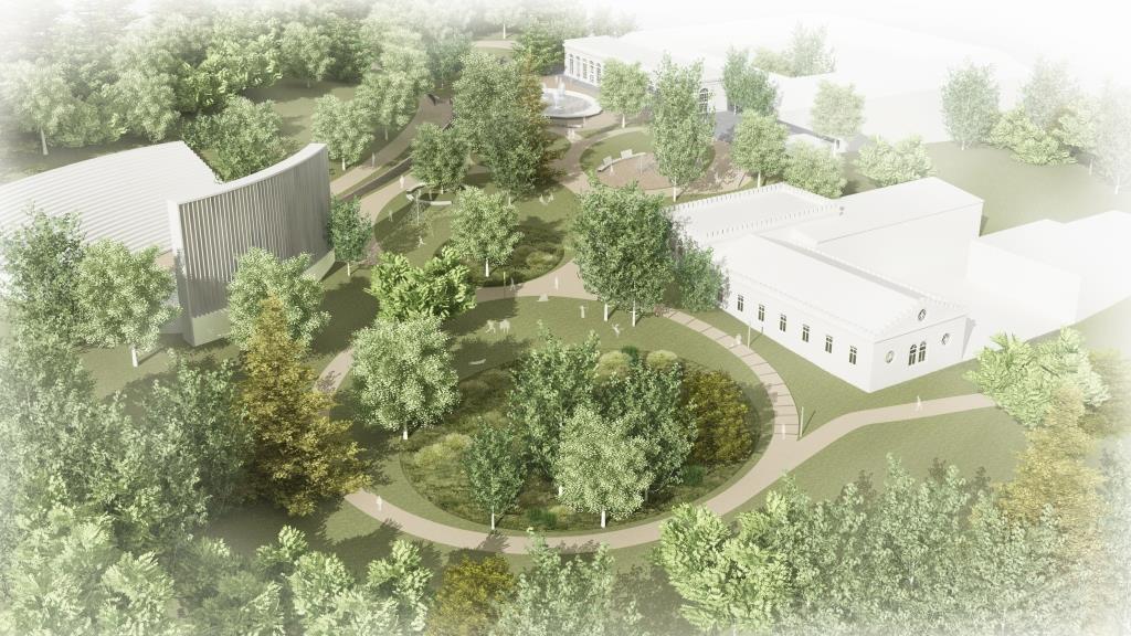 Vizualizace nové podoby parku u zámeckého skleníku