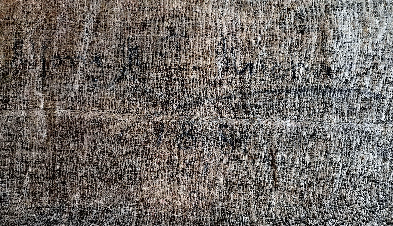 Signatura Alfons M. P. Mucha / 1881 na rubu opony