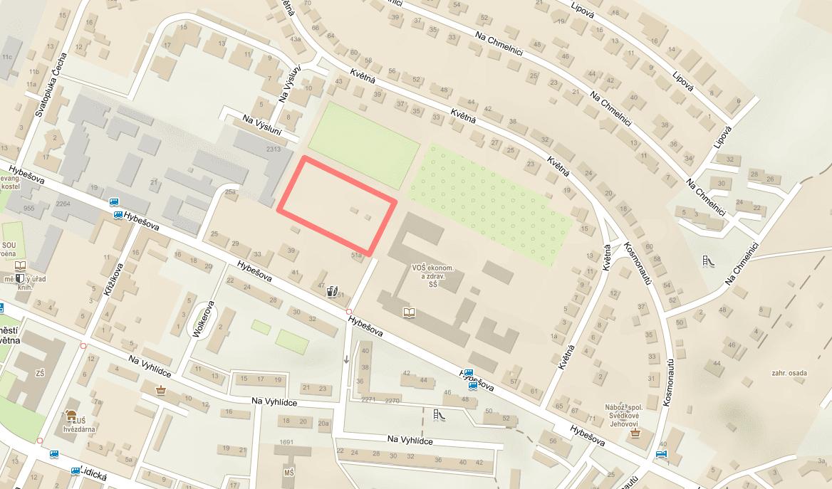 Pozemek pro halu na Hybešově ulici