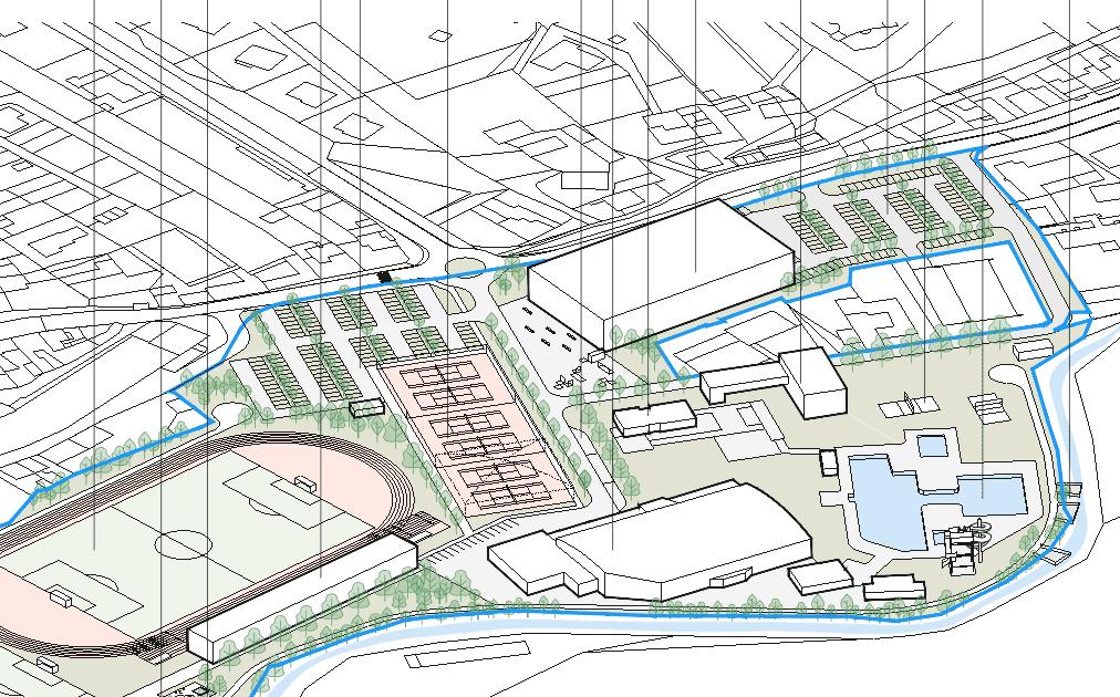 Z urbanistické studie areálu Červená zahrada, kde má nová sportovní hala stát