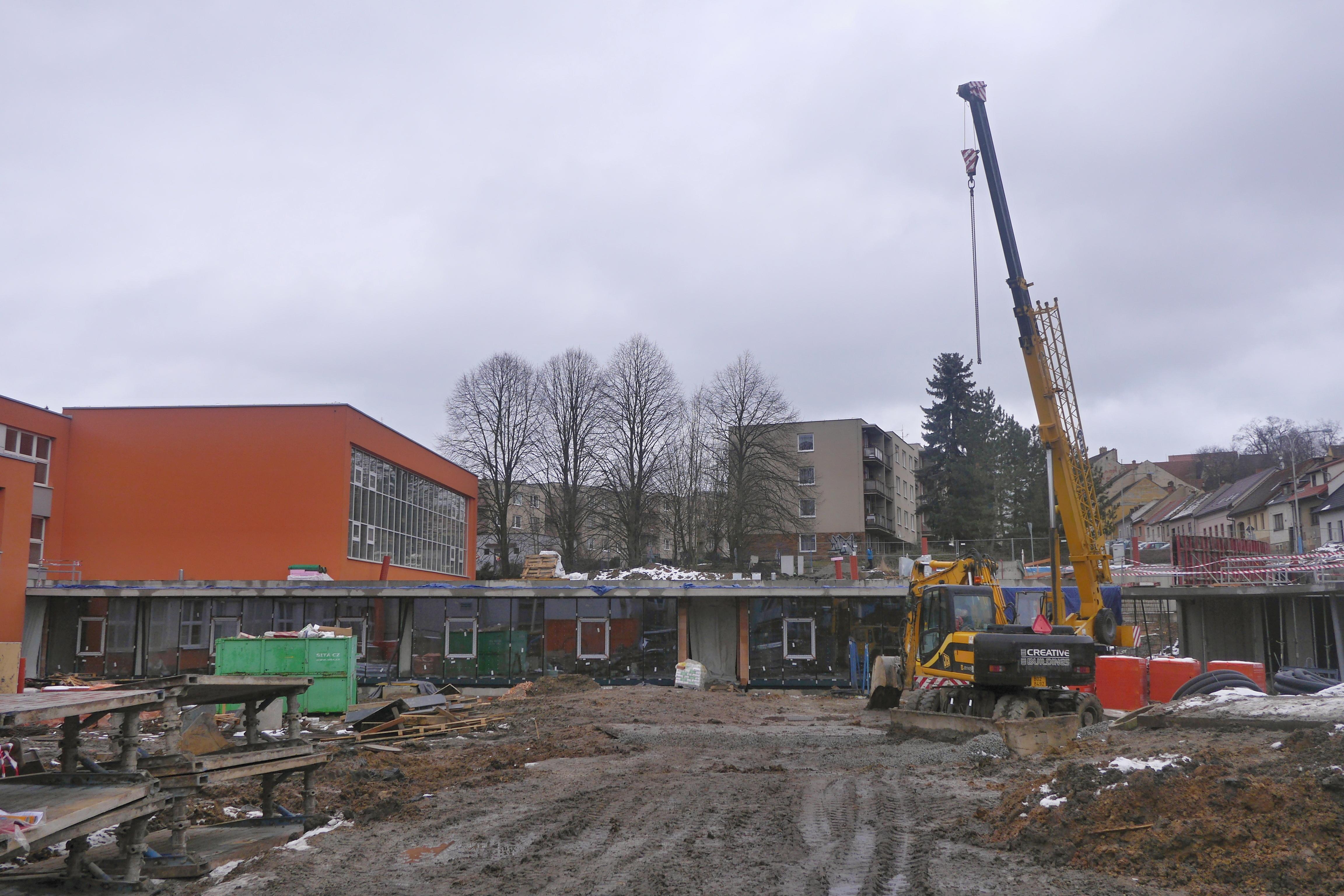 Stavba centra polytechnické výchovy na Slovákově ulici