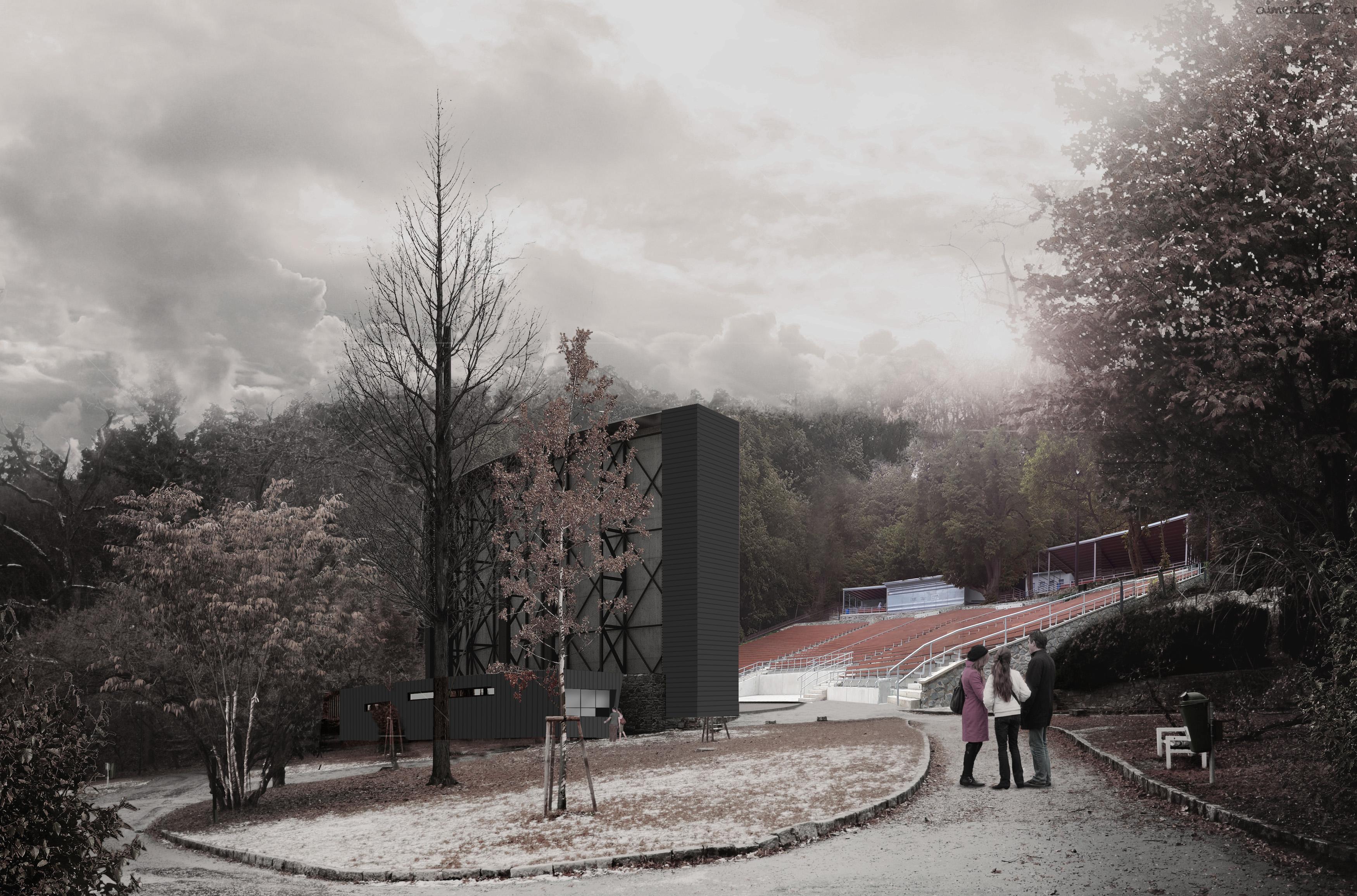 Vizualizace budovy pod plátnem letního kina